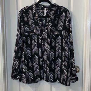 Black Pattern Button Down Blouse